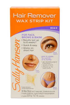 Quick & Easy Hair Remover Wax Strip Kit For Face  Eyebrows & Bikini by Sally Hansen for Women - 1 Pack Wax Strip