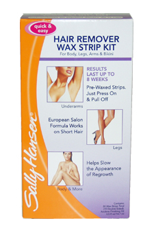 Quick & Easy Hair Remover Wax Strip Kit For Under Arms Legs & Body by Sally Hansen for Women - 1 Pack Wax Strip