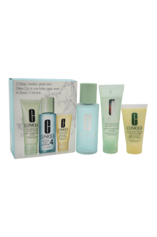 3-Step Skin Care System For Skin Type 4 Oily by Clinique for Women - 3 Pc Kit 1.7oz Liquid Facial Soap Oily Skin Formula, 3.4oz Clarifying Lotion # 4, 1oz Dramatically Different Moisturizing Gel