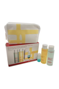 My First Beauty Step Cleansing Face and Eyes - Normal or Dry Skin by Clarins for Women - 4 Pc Kit 6.9oz Anti-Pollution Cleansing Milk, 6.8oz Toning Lotion, 1oz Instant Eye Make-Up Remover, Travel Beauty Purse
