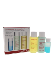 Cleansing Essentials Face and Eyes Set by Clarins for Women - 3 Pc Set 1oz Eye Make-Up Remover, 3.4oz Anti-Pollution Cleansing Milk , 3.4oz Toning Lotion