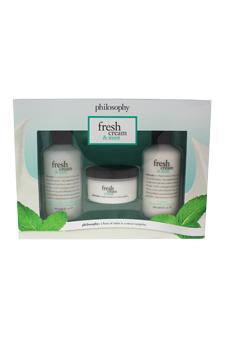 Fresh Cream & Mint Trio by Philosophy for Women - 3 Pc Kit 6oz Shampoo Shower Gel & Bubble Bath, 4oz Glazed Body Souffle, 6oz Body Lotion
