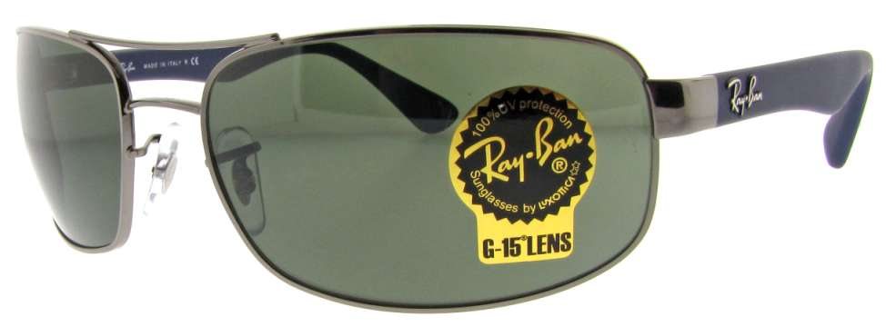 RB 3445 107 Gun Metal/Blue W/ Green G-15 Lens by Ray Ban for Unisex - 61-17-130 mm Sunglasses