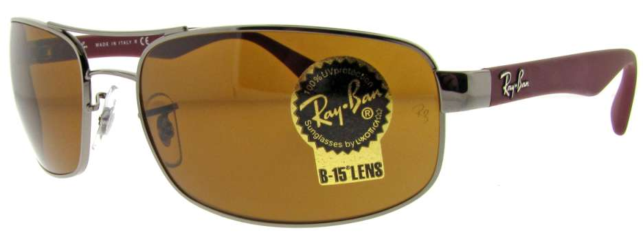 RB 3445 106 Gun Metal/Burgundy W/ Brown B-15 Lens by Ray Ban for Unisex - 61-17-130 mm Sunglasses
