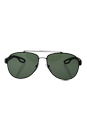 Prada SPS 55Q DG0-5X1 - Black Rubber/Grey Green Polarized by Prada for Men - 59-14-140 mm Sunglasses