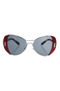 Prada SPR 60S SMN-9K1 - Silver Red/Dark Grey by Prada for Women - 55-16-135 mm Sunglasses
