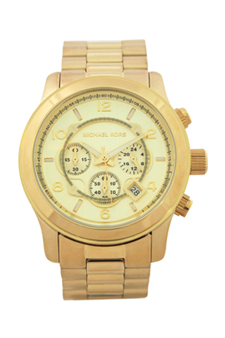MK8077 Runway Oversized Gold-Tone Watch by Michael Kors for Men - 1 Pc Watch