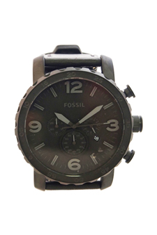 JR1354P Nate Chronograph Black Leather Black by Fossil for Men - 1 Pc Watch