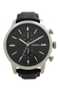 FS4866 Townsman Chronograph Black Leather Watch by Fossil for Men - 1 Pc Watch