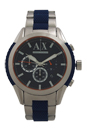 AX1386 Chronograph Blue Silicone and Stainless Steel Bracelet Watch by Armani Exchange for Men - 1 Pc Watch