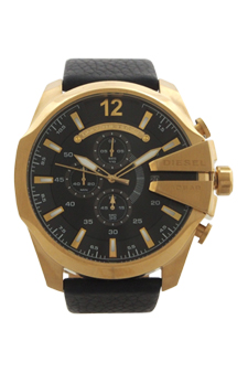 DZ4344 Chronograph Mega Chief Black Leather Strap Watch by Diesel for Men - 1 Pc Watch