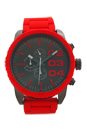 DZ4289 Chronograph Red Silicone-Wrapped Stainless Steel Bracelet Watch by Diesel for Men - 1 Pc Watch