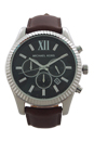 MK8456 Chronograph Lexington Dark Brown Leather Strap Watch by Michael Kors for Men - 1 Pc Watch