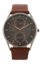 SKW6086 Brown Leather Strap Watch by Skagen for Men - 1 Pc Watch