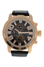 AG1905-03 Rose Gold/Black Leather Strap Watch by Antoneli for Men - 1 Pc Watch
