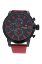 AG1901-02 Black/Red Leather Strap Watch by Antoneli for Men - 1 Pc Watch