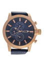 AG1901-04 Rose Gold/Blue Leather Strap Watch by Antoneli for Men - 1 Pc Watch
