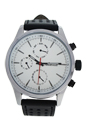 AG0308-01 Silver/Black Leather Strap Watch by Antoneli for Men - 1 Pc Watch