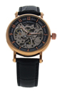 REDS26 Rose Gold/Black Leather Strap Watch by Jean Bellecour for Men - 1 Pc Watch