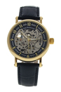 REDS27 Gold/Black Leather Strap Watch by Jean Bellecour for Men - 1 Pc Watch