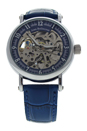 REDS29 Silver/Blue Leather Strap Watch by Jean Bellecour for Men - 1 Pc Watch