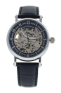 REDH2 Silver/Black Leather Strap Watch by Jean Bellecour for Men - 1 Pc Watch