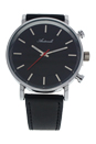 AG6182-01 Silver/Black Leather Strap Watch by Antoneli for Unisex - 1 Pc Watch