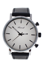AG6182-02 Silver/Black Leather Strap Watch by Antoneli for Unisex - 1 Pc Watch