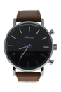 AG6182-04 Silver/Brown Leather Strap Watch by Antoneli for Unisex - 1 Pc Watch