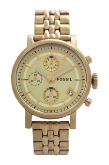 ES2197P Original Boyfriend Chronograph Gold-Tone Stainless Steel Watch by Fossil for Women - 1 Pc Watch