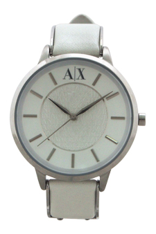 AX5300 Stainless Steel and White Leather Strap Watch by Armani Exchange for Women - 1 Pc Watch