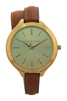 MK2256 Slim Runway Luggage Leather Double Wrap Strap Watch by Michael Kors for Women - 1 Pc Watch