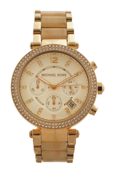 MK5632 Chronograph Parker Horn Acetate and Gold-Tone Stainless Steel Watch by Michael Kors for Women - 1 Pc Watch