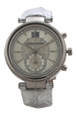 MK2443 Chronograph Sawyer Metallic Silver Croc-Embossed Leather Strap Watch by Michael Kors for Women - 1 Pc Watch