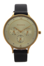 SKW2393 Chronograph Anita Black Leather Strap Watch by Skagen for Women - 1 Pc Watch