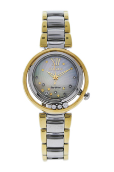 EM0324-58D Eco-Drive Sunrise Diamond Two-Tone Stainless Steel Bracelet Watch by Citizen for Women - 1 Pc Watch