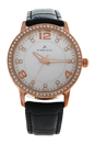2031L-GPBLW Rose Gold/Black Leather Strap Watch by Kim & Jade for Women - 1 Pc Watch