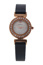 REDL1 Rose Gold/Black Leather Strap Watch by Jean Bellecour for Women - 1 Pc Watch