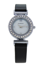 REDL3 Silver/Black Leather Strap Watch by Jean Bellecour for Women - 1 Pc Watch