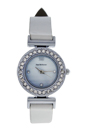 REDL4 Silver/White Leather Strap Watch by Jean Bellecour for Women - 1 Pc Watch
