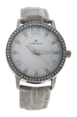 2031L-SGW Silver/Grey Leather Strap Watch by Kim & Jade for Women - 1 Pc Watch