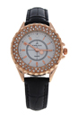 2033L-GPBLW Rose Gold/Black Leather Strap Watch by Kim & Jade for Women - 1 Pc Watch