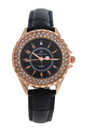 2033L-GPBLBL Rose Gold/Black Leather Strap Watch by Kim & Jade for Women - 1 Pc Watch