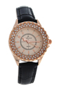 2033L-GPBLGP Rose Gold/Black Leather Strap Watch by Kim & Jade for Women - 1 Pc Watch