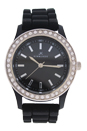 2032L-BK Black Silicone Strap Watch by Kim & Jade for Women - 1 Pc Watch