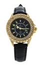 2033L-GBLBL Gold/Black Leather Strap Watch by Kim & Jade for Women - 1 Pc Watch