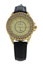 2033L-GBLG Gold/Black Leather Strap Watch by Kim & Jade for Women - 1 Pc Watch